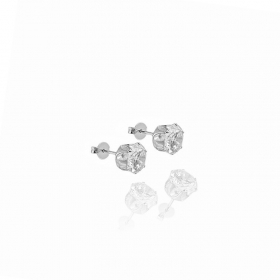 Brinco Pedra de Zircônia Redonda c/ Galeria Coroa (8mmX8mm) (Banho Prata 925)