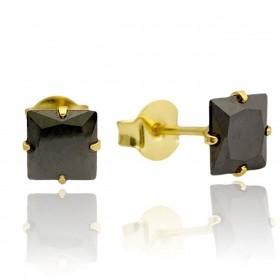 Brinco Pedra Preta de Zircônia Quadrada 6mm X 6mm (Banho Ouro 24k)