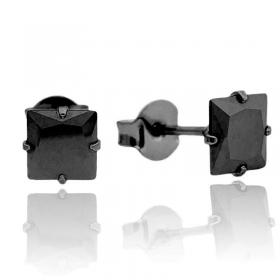 Brinco Pedra Preta de Zircônia Quadrada (6mmX6mm) (Banho de Ônix)