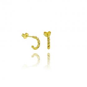 Brinco Trançado Texturizado (Banho Ouro 24k)
