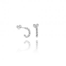 Brinco Trançado Texturizado (Banho Prata 925)