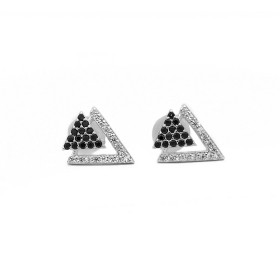 Brinco Triângulo Duplo Vazado 29 Zircônias (Prata 925 Italiana)