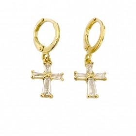 Brinco de Cruz Roma Cravejados em Zircônia (Banho Ouro 24k)