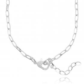 Choker Carrier Arredondada Oval (Fecho Garra Cravejado em Zircônia) (12,1g) (Banho Prata 925)
