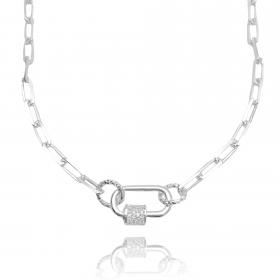 Choker Carrier Diamantada 4mm (Fecho Rosca Cravejado) (11g) (Banho Prata 925)