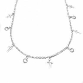 Choker Gotas de Zircônia e Crucifixo Vazado (Banho Prata 925)