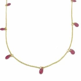 Colar Gotas Vermelha 45cm (Banho Ouro 24k)