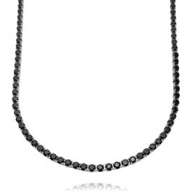 Choker Riviera Tennis Chain 3mm (7,7g) (Pedra Zircônia Preta) (Banho Prata 925)