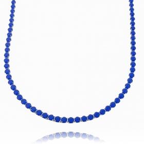 Choker Riviera Tennis Chain 3mm (8g) (Pedra Zircônia Azul) (Banho Prata 925)
