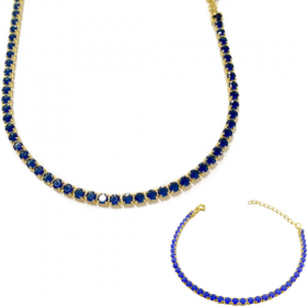 Choker Riviera Tennis Chain 3mm (8g) (Pedra Zircônia Azul) + Pulseira Riviera 3mm (Pedras de Zircônia Azul) (Fecho Tradicional)