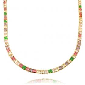 Choker Riviera Tennis Chain Pedras de Zircônia Colors 3mm (10,7g) (Fecho Tradicional (Banho Ouro 24k)