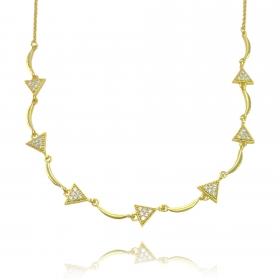 Choker Triângulos Cravejado em Zircônia (9g) (Banho Ouro 24k)