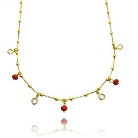 Choker Veneziana Pedras Vermelhas e Gotas de Zircônia (Banho Ouro 24k)