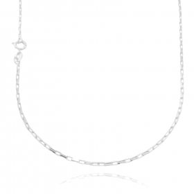 Colar Carrier Cubinho 1,5mm 40cm (Fecho Tradicional) (Banho Prata 925)
