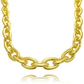 "Colar ""Chain"" 40cm 13mm (21,3g) (Banho Ouro 24k)"