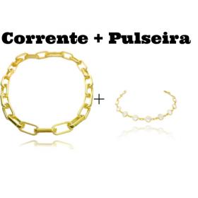 "Colar ""Chain"" 45cm 12mm (19g) + Pulseira All Zircônias"