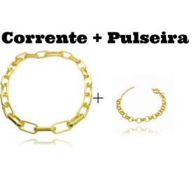 "Colar ""Chain"" 45cm 12mm (19g) + Pulseira Elo Portugues 7mm (8,1g) (Fecho Boia)"