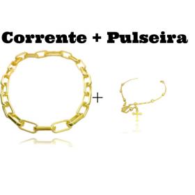 """Colar """"Chain"""" 45cm 12mm (19g) + Pulseira Terço"""