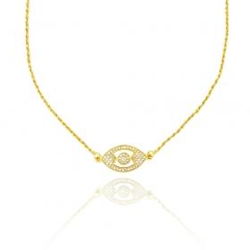 Colar Cordão Baiano c/ Pingente Olho Grego 45cm (Banho Ouro 24k)