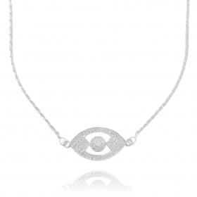 Colar Cordão Baiano c/ Pingente Olho Grego 45cm (Banho Prata 925)