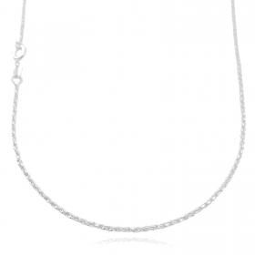 Colar Cordão Baiano Diamantado 1,8mm 40cm (Fecho Tradicional) (Banho Prata 925)