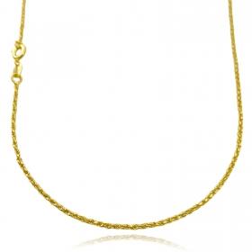 Colar Cordão Baiano Diamantado 1,8mm 40cm (Fecho Tradicional) (TAG 24K) (Banho Ouro 24k)