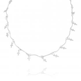 Colar Crucifixo Chapado Mini 45cm (Banho Prata 925)