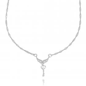 Colar Double Grumet c/ Pingente Asa Cravejada em Zircônia 45cm (Banho Prata 925)