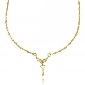 Colar Double Grumet c/ Pingente Asa Cravejada em Zircônia 45cm (TAG) (Banho Ouro 24k)