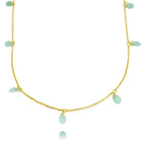 Colar Gotas Verde 45cm (Banho Ouro 24k)