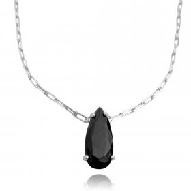 Colar Pedra de Zircônia Preta Carrier Diamantada 55cm (8,2g) (Banho Prata 925)