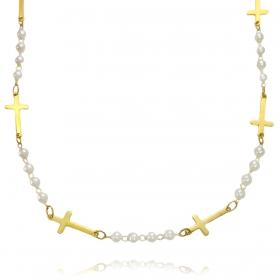 Colar Pérolas com Crucifixo Chapado 45cm (Banho Ouro 24k)