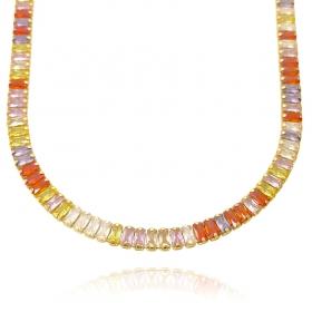 Colar Riviera Baguetes (Pedra Zircônia Colors) 50cm Fecho Tradicional (17,9g) (Banho Ouro 24k)