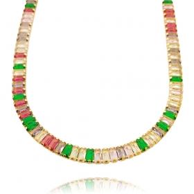 Colar Riviera Baguetes (Pedra Zircônia Multi Colors) 40cm (17,8g) (Banho Ouro 24k)