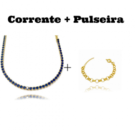 Colar Riviera Tennis Chain 3mm 45cm (9,6g) (Pedra Zircônia Azul) + Pulseira Elo Portugues 7mm (8,1g) (Fecho Boia)