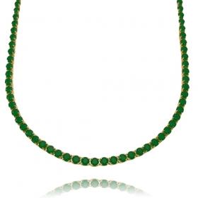 Colar Riviera Tennis Chain 3mm 45cm (9,6g) (Pedra Zircônia Verde) (Banho Ouro 24k)