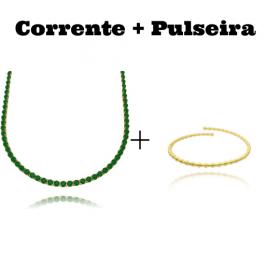 Colar Riviera Tennis Chain 3mm 45cm (9,6g) (Pedra Zircônia Verde) + Bracelete 1 por 1 Esferas