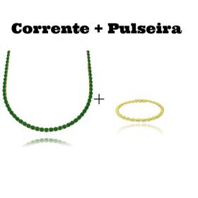 Colar Riviera Tennis Chain 3mm 45cm (9,6g) (Pedra Zircônia Verde) + Bracelete 1 por 1 Esferas e Zircônia