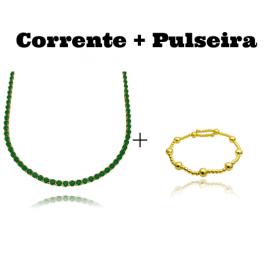 Colar Riviera Tennis Chain 3mm 45cm (9,6g) (Pedra Zircônia Verde) + Bracelete 9 Esferas
