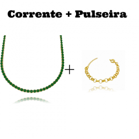 Colar Riviera Tennis Chain 3mm 45cm (9,6g) (Pedra Zircônia Verde) + Pulseira Elo Portugues 7mm (8,1g) (Fecho Boia)