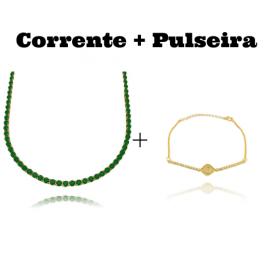 Colar Riviera Tennis Chain 3mm 45cm (9,6g) (Pedra Zircônia Verde) + Pulseira Elo Portugues Riviera Olho Grego Cravejado em Zircônia