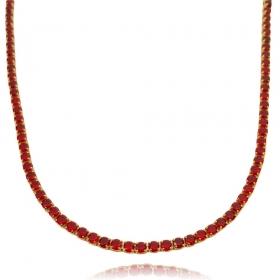 Colar Riviera Tennis Chain 3mm 45cm (9,7g) (Pedra Zircônia Vermelha) (Banho Ouro 24k)