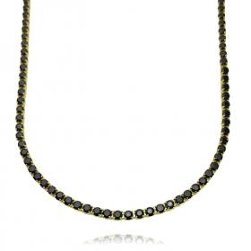 Colar Riviera Tennis Chain 3mm 45cm (Pedra Zircônia Preta) (9,7g) (Banho Ouro 24k)