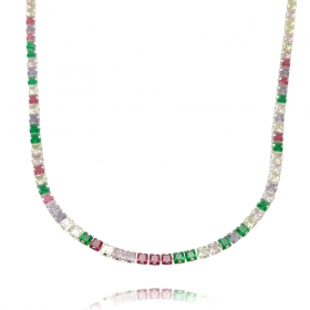 Colar Riviera Tennis Chain Pedras de Zircônia Colors 3mm 50cm (14,1g) (Fecho Tradicional) (Banho Prata 925)