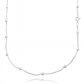 Colar Veneziana Esferas 45cm (Prata 925 Italiana)