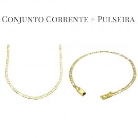 Conjunto Corrente 3 por 1 3mm 60cm 5,8g (Fecho Gaveta) + Pulseira 3 por 1 3mm 3g (Fecho Gaveta) (Banho Ouro 24K)