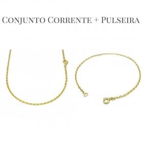 Conjunto Corrente Carrier Cadeado 2mm 60cm (Fecho Tradicional) +Pulseira Carrier Cadeado 2mm (Fecho Tradicional) (Banho Ouro 24K)