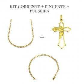 Conjunto Corrente Carrier Cadeado 4mm 60cm 20g (Fecho Canhão) + Pingente Crucifixo Vazado Rosto De Cristo 4,3cm X 2,7cm + Pulseira Carrier Cadeado 4mm (Fecho Canhão) (Banho Ouro 24K)