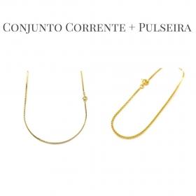 Conjunto Corrente Veneziana 1,2mm 60cm (Fecho Tradicional) + Pulseira Veneziana 2mm 6g (Fecho Canhão) (Banho Ouro 24k)