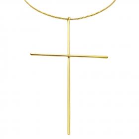 Conjunto Crucifixo Agulha 7cm x 4cm Veneziana (Banho Ouro 24k)